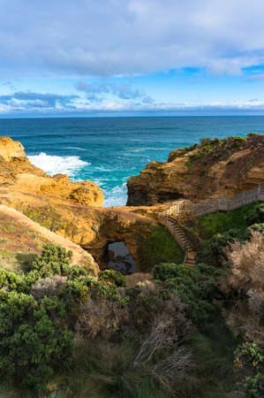 The Grotto rock formation with staircases and ocean view.Tourism in Australia. Great Ocean Road, Victoria, Australia