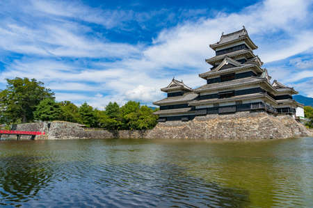 Matsumoto historic castle in Japan on sunny day 報道画像