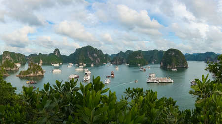View from above on popular tourist destination Halong Bay in Vietnam