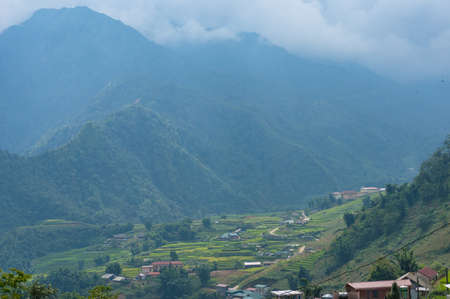 Picturesque Muong Hoa valley with view of rice terraces and villages. Vietnam
