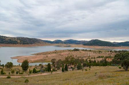Australian outback landscape with lake nature background Stock Photo