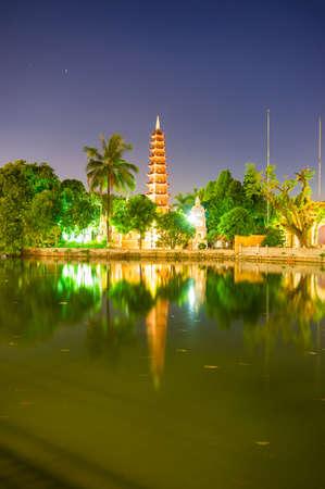 Tran Quoc Pagoda at night. Hanoi, Vietnam