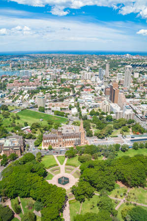 Aerial view on Sydney with Hyde Park and St. Mary s Cathedral. Sydney, Australia