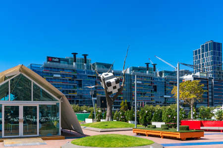 Melbourne, Australia - December 7, 2016: Cow Up a Tree Sculpture in Docklands Editorial