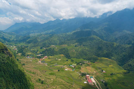 Aerial view of Muong valley with rice terraces and mountains. SaPa, Vietnam