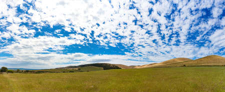 Picturesque landscape of vast hills and sky on sunny day. South Australia Stock Photo