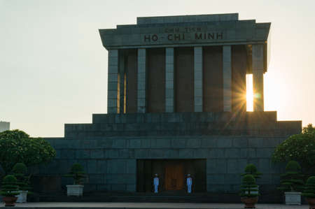 Ho Chi Minh, Vietnam - August 21, 2017: Ho Chi Minh Mausoleum building with sun star