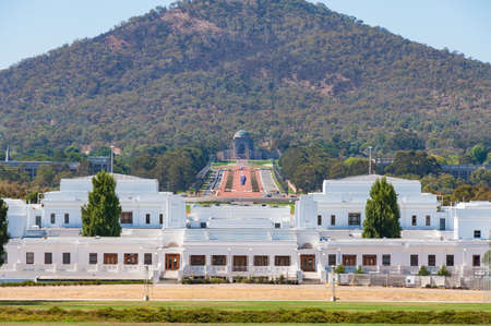 Canberra, Australia - March 7, 2009: Old Parliament House with Australian War Memorial view