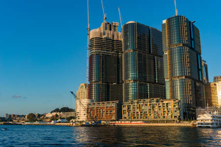 Barangaroo point cityscape with construction works on skyscrapers Editorial