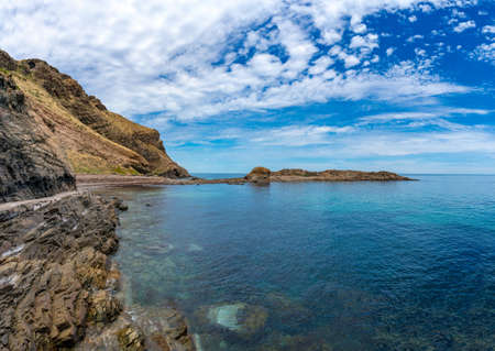 Epic panorama landscape of spectacular ocean coastline with rock formation and sryctal clear water. Second Valley, South Australia
