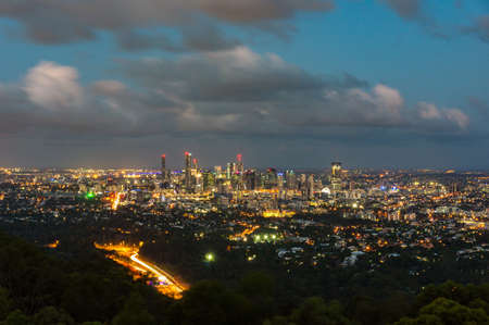 View from above on Brisbane cityscape at night