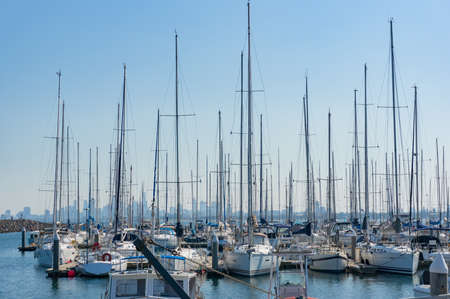 Melbourne, Australia - April 6, 2017: Yachts and boats on berth, anchorage on Brighton beach moorage parking