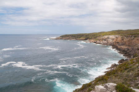 Spectacular rock coastline with beautiful ocean. Australian coastline nature background