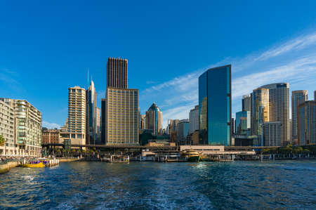 Sydney CBD cityscape with skyscrapers on sunny day, view from Circular Quay 스톡 콘�츠