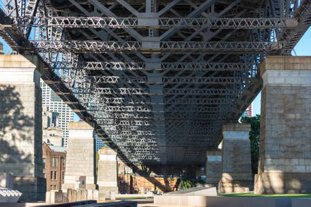Low angle view of frame metal reinforcements of bridge