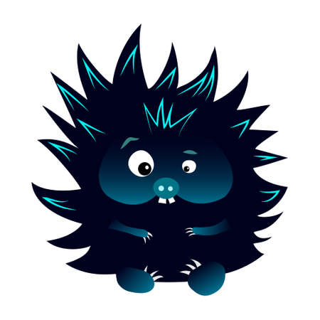 Neon blue and black spiky cartoon caracter hedgehog with snout isolated on white background