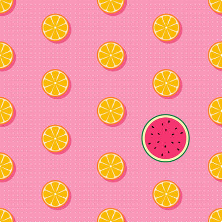 Tropical fruits seamless vector pattern with halvef oragnes and watermelon watermelon. Cute summer fruit background Иллюстрация