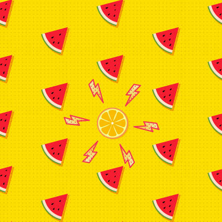 Fruity seamless vector pattern with watermelon pieces and halved orange accented with thunderbolts. Summer fruit pop art background in comics style Çizim