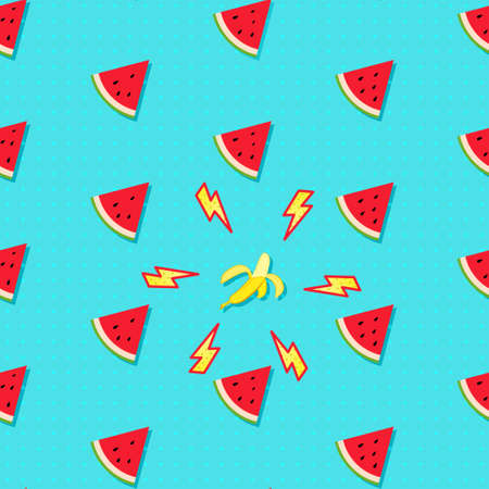Fruity seamless vector pattern with watermelon pieces and peeled banana accented with thunderbolts. Summer fruit pop art background