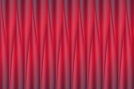 Vector background of realistic bright red shining sateen silk fabric folds. Pleated curtain or theatre fabric screen vector background