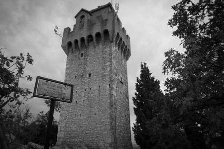 San Marino, San Marino - September 29, 2013: The Montale, Third tower of San Marino ministate