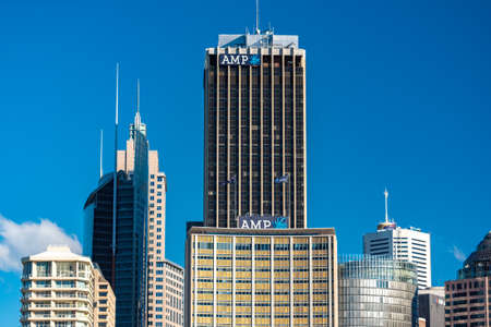 Sydney, Australia - July 23, 2016: AMP building and Tower before Circular Quay reconstruction, redevelopment