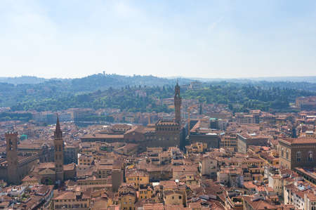 Aerial view of historic center of Florence, Italy