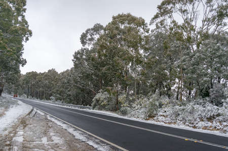 Asphalt road in winter forest. Countryside season travel landscape Stock Photo