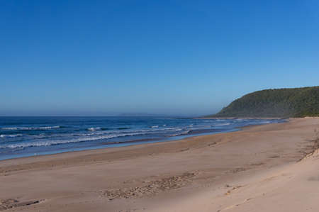 Beautiful summer beach landscape with forest hill on the background. Empty beach in Natures Valley in South Africa