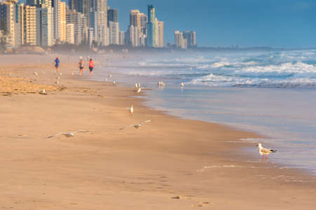 Beach sunrise with unidentifiable people jogging and doing sports. Gold Coast, Australia Stock Photo