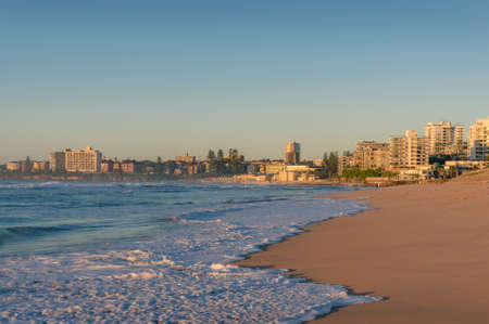 Cronulla beach residential district with waterfront property at sunrise. Upscale real estate in Sydney suburbs 版權商用圖片