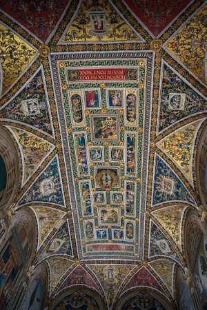 Siena, Italy - September 23, 2013: Piccolomini Library ceiling frescoes by the Umbrian Bernardino di Betto, called Pinturicchio Editorial