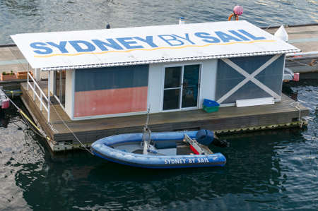 Sydney, Australia - August 04, 2013: Motor boat at Sydney tourist attraction Sydney by sail travel tourism office