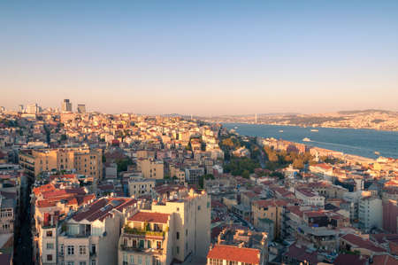 Istanbul aerial cityscape with Bosporus view at sunset. Turkey