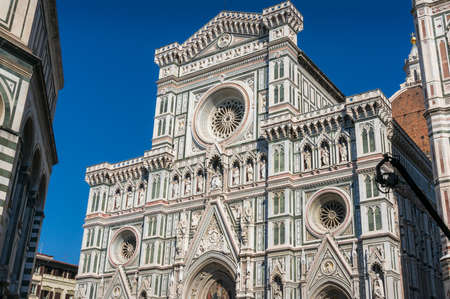 Famous Cathedral of Santa Maria del Fiore with colored marble facade. Florence, italy
