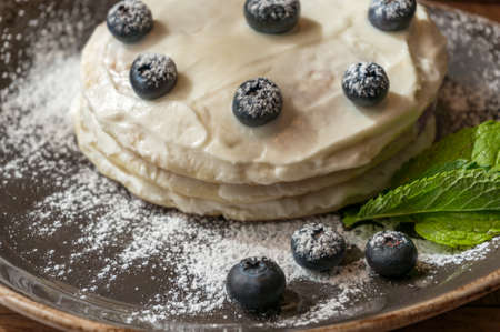 Close up of sweet dessert cake wit blueberries on a plate with sugar powder. Sweet food styling background