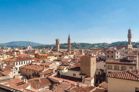Elevated view of Florence cityscape with red-tile rooftops. Florence, Italy