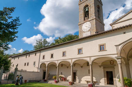 Florence, Italy - Courtyard with bell tower of Madonna del Sasso catholic church in Firenze province