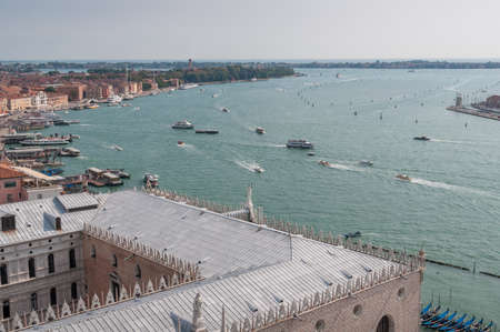 Aerial view of Grand Canal and lagoon in Venice with cruise ships and boats. Travel Italy tourism background