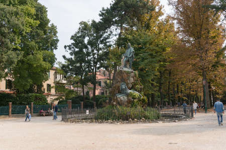 Venice, Italy- September 27, 2013: Giuseppe Garibaldi Monument in park in Venice at autumn