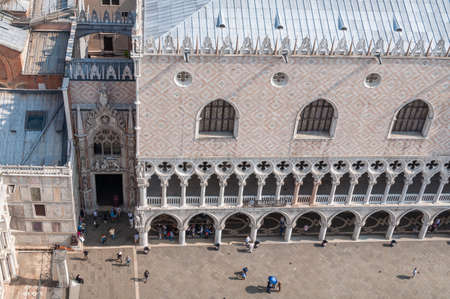 Venice, Italy- September 27, 2013: View from above on Doge Palace and tourists on San Marco square Redakční
