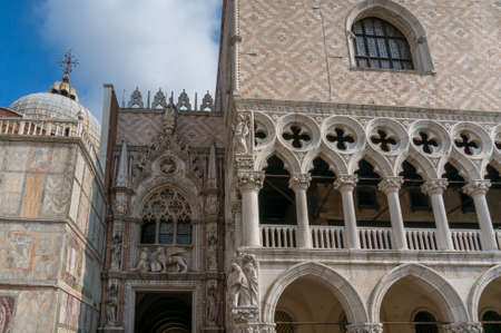 Venice, Italy- September 27, 2013: Architectural details of Gothic Dodge Palace on St Mark Square in Venice, Italy