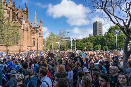 Sydney, Australia - September 20, 2019: Strike for climate change in Sydney. People with placards and posters on global Strike for climate change