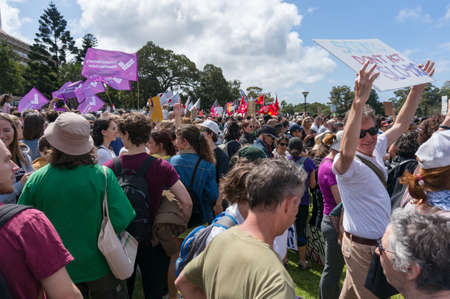 Sydney, Australia - September 20, 2019: Strike for climate change in Sydney. People demanding climate actions from the Australian government. Redakční