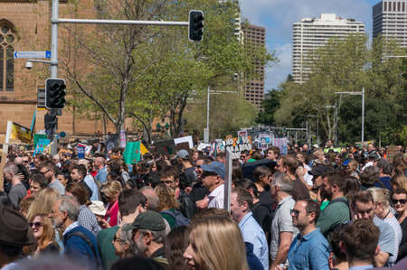 Sydney, Australia - September 20, 2019: Strike for climate change in Sydney. People demanding climate actions from the Australian government Redakční