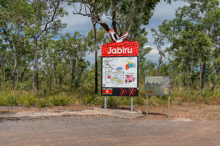 Northern Territory, Australia - June 3, 2019: Jabiru outback town entrance sign and town map, Northern Territory, Australia