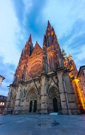 Saint Vitus gothic cathedral illuminated at night. Historic Prague landmark