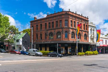 Sydney, Australia - October 18, 2017: Beauchamp hotel historic building and street in Paddington suburb of Sydney, Australia