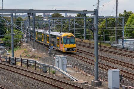 Sydney, Australia - October 29, 2016: Sydney transport yellow train. Suburban train, Sydney public transport infrastructure
