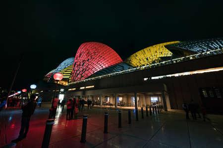 Sydney, Australia - June 11, 2016: Vivid Sydney light festival. Colorful laser show projecting light patterns on Sydney Opera House